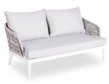 Alma Outdoor 2 Seater Lounge Chair Matt White Aluminium with Light Grey Cushion by Bent Design image
