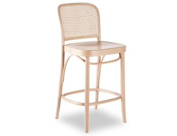 811 Natural Hoffmann Bar Stool with Wooden Seat and Cane Backrest by for TON image