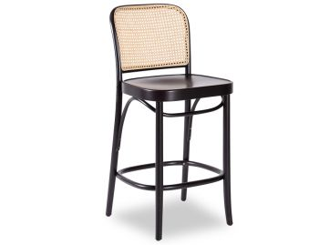 811 Hoffmann Stool in Black Stain with Wood Seat and Cane Backrest by TON image