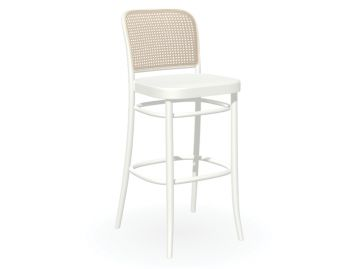 811 Hoffmann Stool in White with Wood Seat and Cane Backrest by TON image