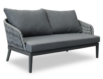 Alma Outdoor 2 Seater Lounge Chair Matt Charcoal Aluminium with Dark Grey Cushion by Bent Design image