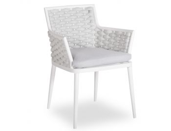 Siano Dining Chair Matt White with Light Grey Cushion by Bent Design image