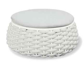 Siano Large Outdoor Coffee Table Storage Pouf Matt White with Light Grey Cushion by Bent Design image