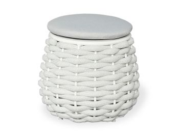 Siano Small Stool Outdoor Storage Pouf Matt White with Light Grey Grey Cushion by Bent Design image