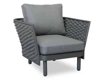 Siano Lounge Chair Matt Charcoal with Dark Grey Cushion by Bent Design image
