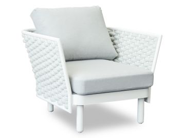 Siano Lounge Chair Matt White with Light Grey Cushion by Bent Design image