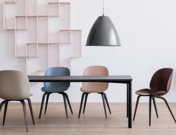 Beetle Dining Chair Un-upholstered with Timber Legs by Gubi image