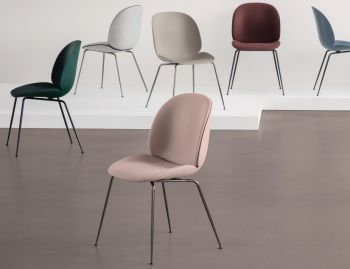Beetle Dining Chair with Front Upholstery and Conical Legs by Gubi image