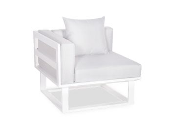 Vivara D Corner Modular Sofa Section Matt White Aluminium with Light Grey Cushions by Bent Design image