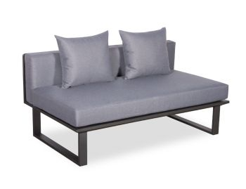 Vivara C No Arm Modular Sofa Section Matt Charcoal Aluminium with Dark Grey Cushions by Bent Design image