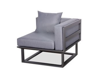 Vivara D Corner Modular Sofa Section Matt Charcoal Aluminium with Dark Grey Cushions by Bent Design image