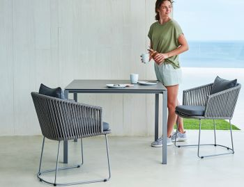 Grey Moments Dining Chair Sled Base by Strand & hvass For Cane-line image