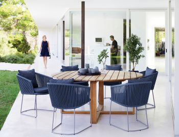 Blue Moments Dining Chair Sled Base by Strand & hvass For Cane-line image