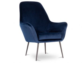 Soho Lounge Armchair in Navy Blue Velvet by Bent Design image