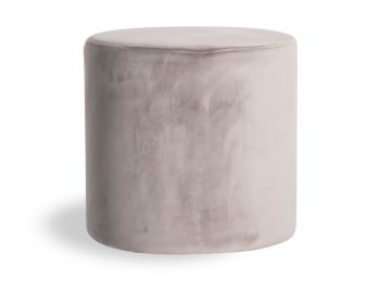Tito Round Ottoman in Light Grey Velvet by Bent Design image