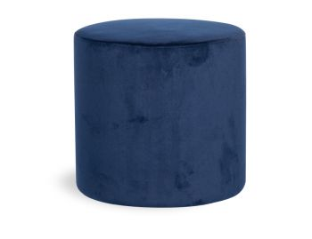 Tito Round Ottoman in Navy Blue Velvet by Bent Design image
