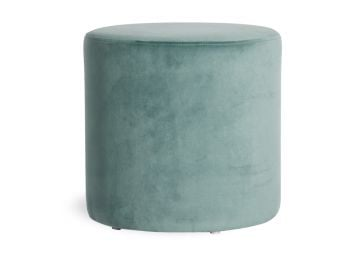 Tito Round Ottoman in Sage Green Velvet by Bent Design image