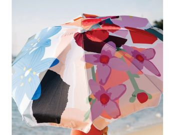 Wildflowers by Leah Bartholomew Beach Umbrella by Basil Bangs image