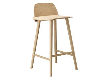 Oak 65cm Nerd Bar Stool by David Geckeler for Muuto image
