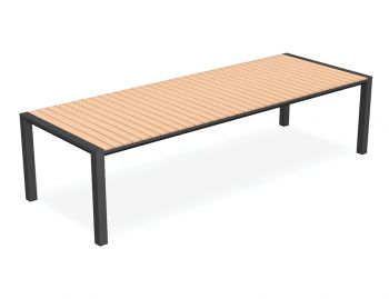 Vydel Outdoor Solid Teak Dining Table 300cm x 110cm Matt Charcoal Aluminum by Bent Design image