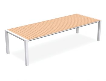 Vydel Outdoor Solid Teak Dining Table 300cm x 110cm Matt White Aluminium by Bent Design image