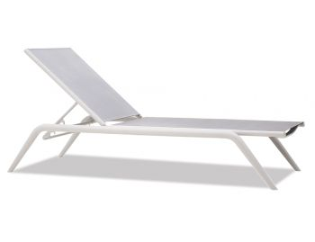 Minori Sunlounge Matt White Aluminum with Light Grey Plexus Mesh by Bent Design Studio image
