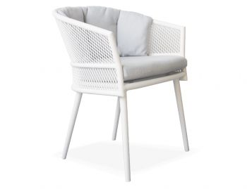Avila Dining Chair Matt White with Light Grey Cushion by Bent Design image