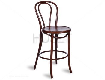 Walnut Vienna Bentwood Bar Stool by Micheal Thonet image