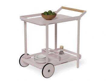 Imola Outdoor Teak Bar Cart Drinks Trolley matt pale pink blush image