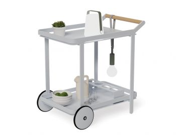 Imola Outdoor Teak Bar Cart Drinks Trolley Matt Silver Grey image