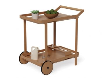 Imola Outdoor Teak Bar Cart Drinks Trolley Matt Terracotta by Bent Design image