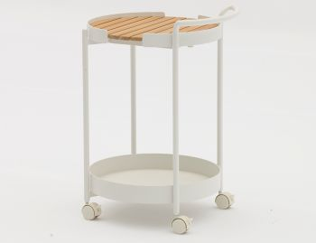 Fino Outdoor Teak Bar Cart Drinks Trolley Matt White by Bent Design image