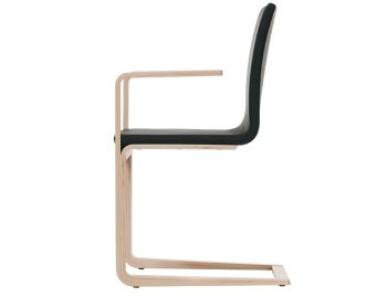 Natural Oak Mojo Cantilever Chair w Black Leather by Michal Riabic for TON image
