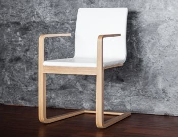 Natural Oak Mojo Cantilever Chair w White Leather by Michal Riabic for TON image