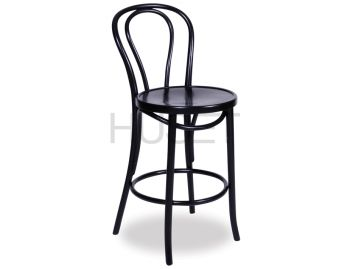 Vienna Black Bentwood Thonet Bar Stool by Fameg image