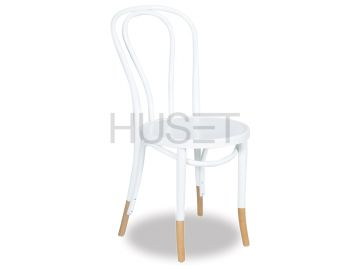 Vienna 18 White w Natural Socks Bentwood Chair by Micheal Thonet image