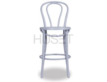 Light Grey Vienna Bentwood Bar Stool by Micheal Thonet image
