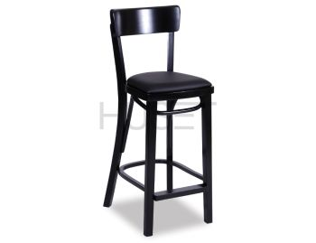 Black Francois Bentwood Bar Stool w Seat Pad by Micheal Thonet image