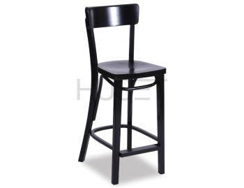 Black Francois Bentwood Bar Stool by Micheal Thonet image