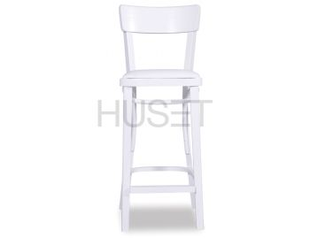 White Francois Bentwood Bar Stool w Seat Pad by Micheal Thonet image