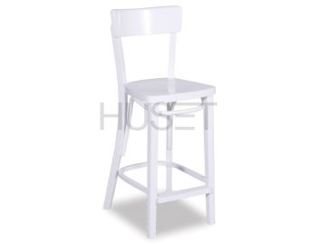 White Francois Bentwood Thonet Bar Stool by Fameg image