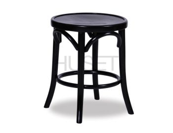 Black 46cm Paris Bentwood Low Stool by Micheal Thonet image