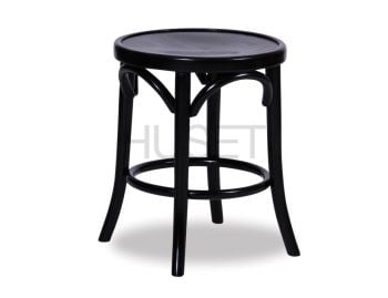 Black 46cm Paris Bentwood Thonet Low Stool by Fameg image