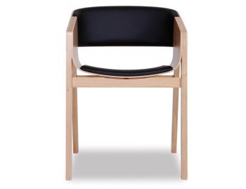 Merano Natural Oak Armchair w Black Pad by Alex Gufler for TON image